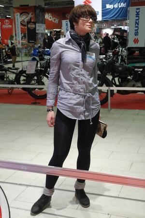 light blue caton H&M shirt - black kiraplastinina boots