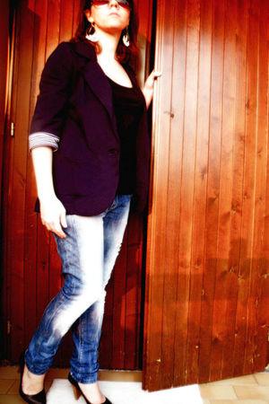 blue Primark blazer - blue Bershka jeans - black Pimkie shoes - white Primark ea