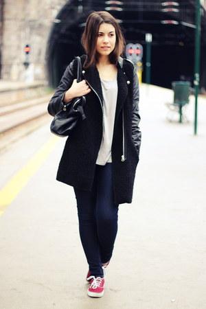 black Sheinside coat - black Parfois bag - periwinkle chicnova top