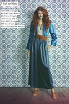 maxi dress vintage dress - Nina Ricci shirt - Carolina Herera heels - GINA TRICO