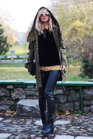 black Topshop boots - dark khaki Zara jacket - gold H&M romper