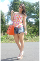 carrot orange Michael Kors bag - navy cut off Zara shorts