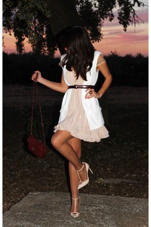 nude Sheinside dress - ivory Pimkie vest - nude Zara heels