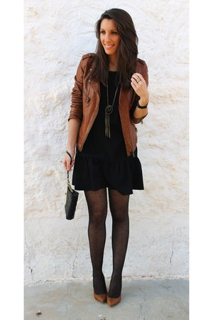 black Stradivarius dress - tawny Zara jacket