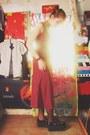 Ruby-red-thrift-store-dress-black-thrift-store-flats