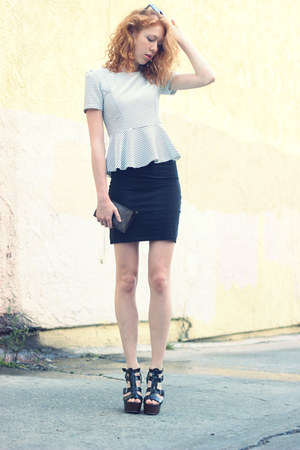 white peplum thrifted shirt - black H&M skirt
