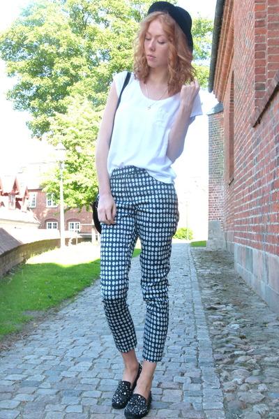 blue spotted H&M pants - black vintage loafers