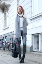 heather gray Zara sweater - heather gray H&M pants
