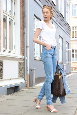white Wet Seal t-shirt - sky blue needle acne jeans - white Zara sandals