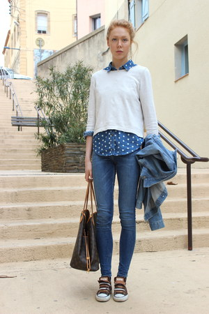blue dotted Primark shirt - sky blue second hand Levis jacket