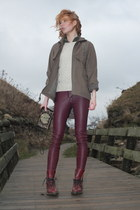maroon leather H&M pants - black beaded vintage purse
