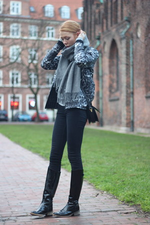 black Bianco boots - charcoal gray leopard print Mads Nørgaard jacket