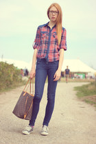 blue plaid Atmosphere shirt - blue Dr Denim jeans
