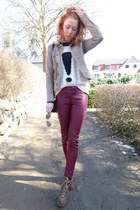 light brown Diesel jacket - maroon pleather H&M pants