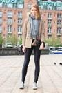 Light-brown-zara-blazer-black-disco-pants-american-apparel-pants