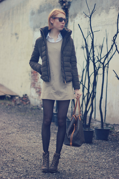 light brown Zara jacket - dark khaki Diesel boots - camel H&M dress