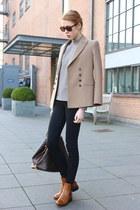 bronze Hugo Boss boots - camel Zara blouse