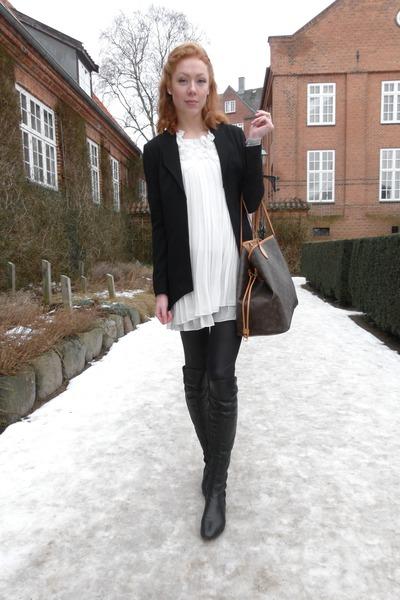 Black Over Knee Bianco Boots, White Vintage Dresses, Black Gestuz ...