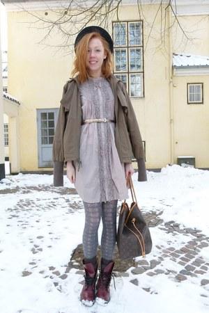 tan ruffle Gustav dress