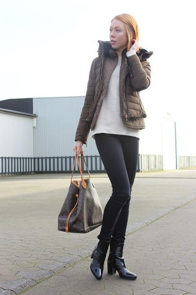 black Zara boots - dark khaki Zara jacket