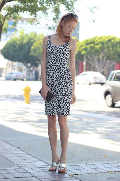black spotted Club Monaco dress - white Nicole sandals