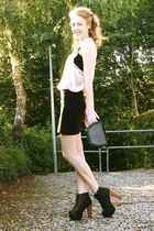 black Jeffrey Campbell boots - black H&M skirt - neutral H&M top