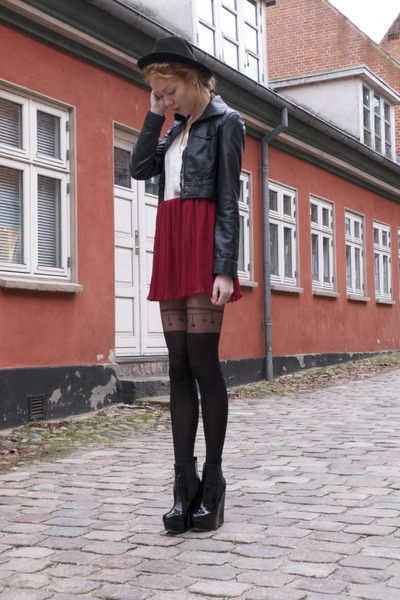 black pleather Amisu jacket - ruby red River Island skirt