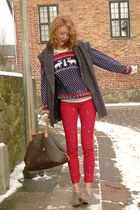 red skinny Wet Seal jeans - brown Louis Vuitton bag - bronze Forever21 flats