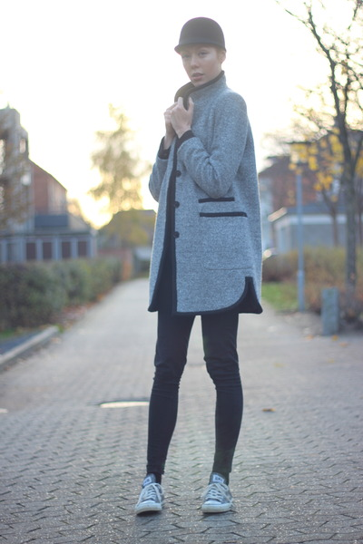 charcoal gray Zara jacket - black H&M hat