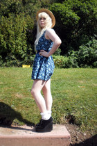 boater Primark hat - blue floral made by me dress - wedge creepers wedges