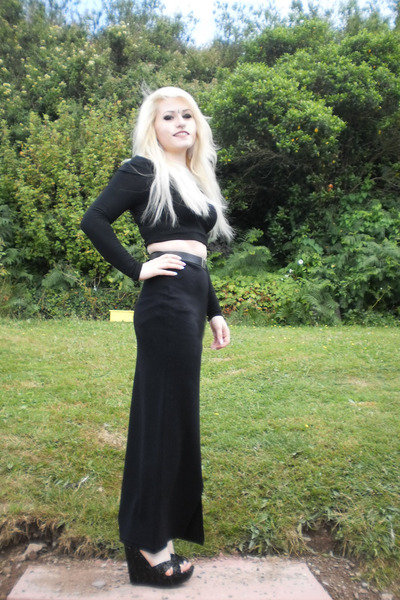 black maxi vintage skirt - black sequin new look wedges - Primark top