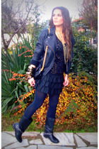 black jacket - black skirt - t-shirt - black boots - gold accessories