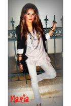 silver jeans - silver blouse - black blazer - black accessories