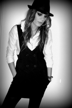 black dress - white shirt - black hat