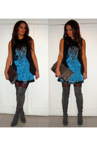 gray boots - blue dress - black vest