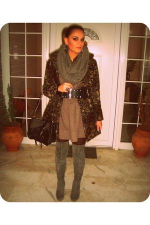 brown Zara coat - brown Zara dress - gray Zara boots - black Zara belt - black Z
