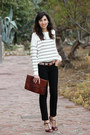 Brown-parfois-bag-off-white-stripes-mango-jumper-crimson-zara-heels