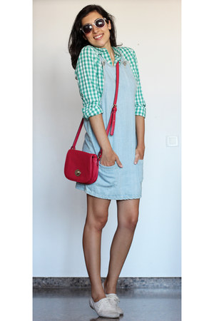 teal gingham shirt - off white shoes - hot pink bag