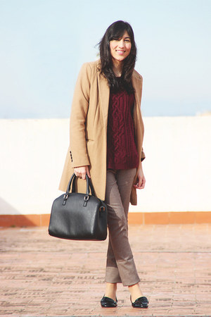 camel Pimkie coat - black Primark bag - black Zara loafers