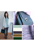 aquamarine Mango blouse - brown pull&bear boots - forest green Local store bag