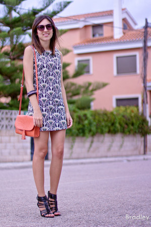 orange Mango bag - print BLANCO dress - Zara heels