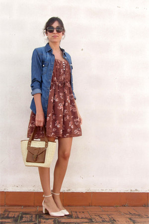 blue denim Primark shirt - brown floral print Women Secret dress