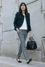 Teal-tweed-cortefiel-jacket-off-white-knit-sfera-sweater