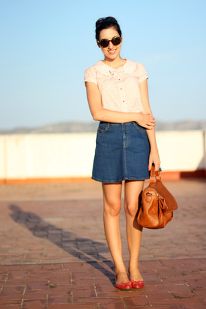 navy denim Zara skirt - brown amichi bag - red Zara Kids blouse - red Zara flats