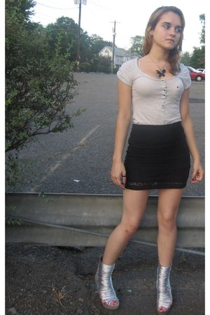 silver Jeffrey Campbell shoes - black H&M skirt - white H&M shirt - black neckla