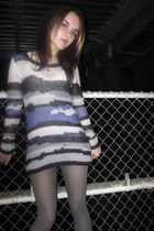 silver H&M sweater - silver H&M tights - silver trash & vaudeville necklace