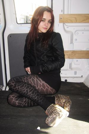black H&M jacket - black H&M tights - black H&M sweater - beige Jeffrey Campbell