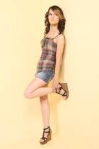 blue abercrombie kids skirt - brown Steve Madden shoes - gray delias top