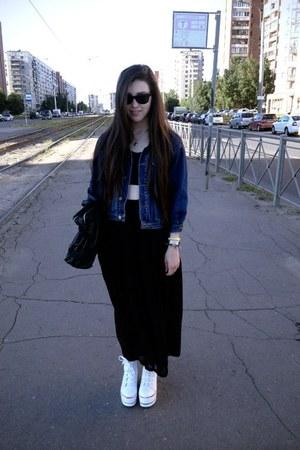 black leather Global bag - blue denim jacket unknown brand jacket