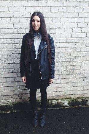 black leather Pepe Jeans jacket - black leather lace up pull&bear boots